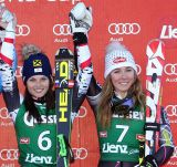 Race at breakneck Slden Anna Fenninger and Mikaela Shiffrin won the giant tie! Fifth Federica Brignone